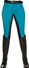 HKM PRO TEAM DYNAMIC CONTRAST LADIES BREECHES - PETROL WITH DEEP BLUE